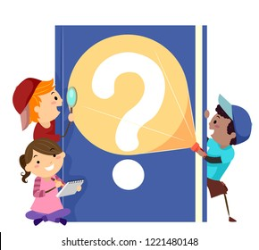 Illustration of Stickman Kids with a Mystery Book with Question Mark, Holding a Magnifying Glass, Flashlight and Notes