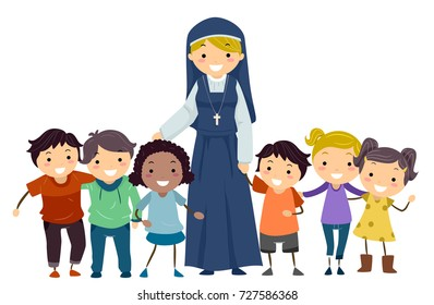 Illustration of Stickman Kids with a Nun