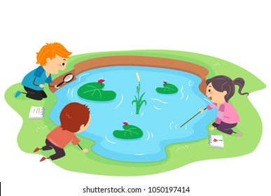 Illustration of Stickman Kids Observing the Plants and Animals in the Pond