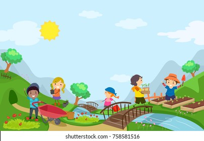 Illustration of Stickman Kids Outdoors Gardening