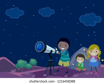 Illustration of Stickman Kids Outside Camping Tent with Telescope Looking the Stars