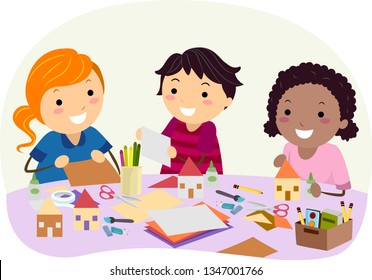 Illustration of Stickman Kids with Paper, Glue and Scissors Making Cardboard Houses