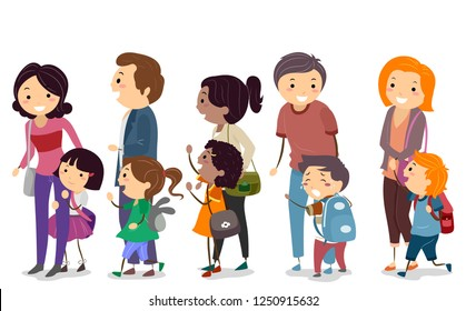 Illustration of Stickman Kids with Parents Lining Up for the First Day of School