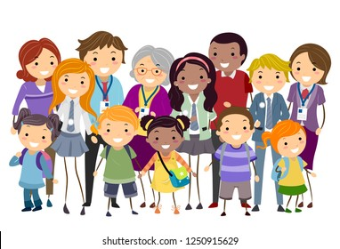 Illustration of Stickman Kids, Parents and Teachers Standing Up as a Group