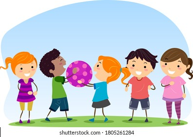 Illustration of Stickman Kids Passing the Ball to Another Playing to Take Turns, Social Skills