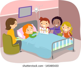 Illustration of Stickman Kids Paying a Visit to a Friend in the Hospital
