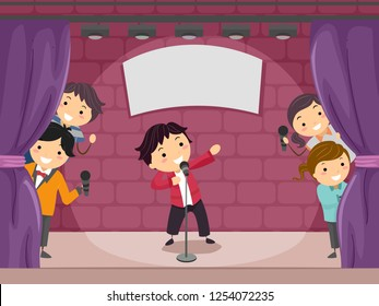 Illustration of Stickman Kids Performing Comedy Play on Stage with Spotlight