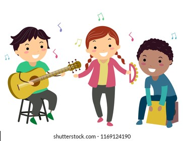 Illustration of Stickman Kids Playing Acoustic Guitar, Tambourine and a Cajon Musical Instruments