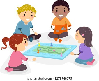 Illustration of Stickman Kids Playing Board Game on the Floor