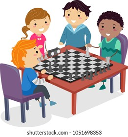 Illustration of Stickman Kids Playing Chess at their School Club for Practice