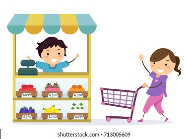 Illustration of Stickman Kids Playing Grocery. Girl Pushing a Shopping Cart Towards a Boy Selling Fruits