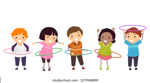 Illustration of Stickman Kids Playing Hula Hoop