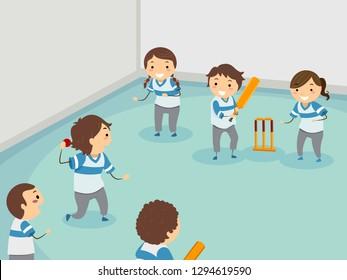 Illustration of Stickman Kids Playing Indoor Cricket