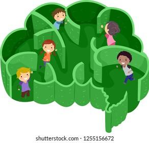 Illustration of Stickman Kids Playing Inside a Labyrinth Shaped as a Brain