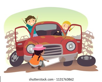 Illustration of Stickman Kids Playing with a Junk Car in the Junkyard