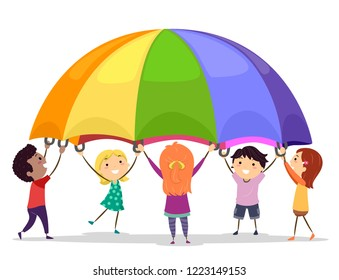 Illustration of Stickman Kids Playing with a Large and Colorful Parachute