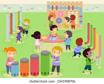 Illustration of Stickman Kids Playing in a Musical and Sensory Garden with Drums, Tubes and Music Wall
