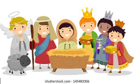 Illustration of Stickman Kids Playing Nativity Scene in School Play