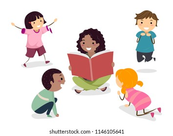 Illustration of Stickman Kids Playing Out Animal Characters in the Book Read by the Teacher