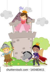 Illustration of Stickman Kids Playing Prince, Princess and Kight in School Play