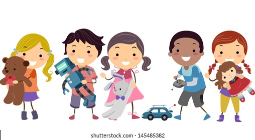 Illustration of Stickman Kids Playing with their Toys