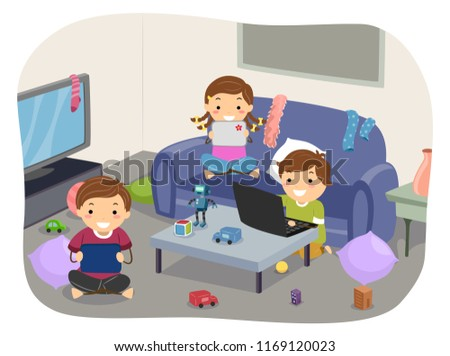 Illustration Stickman Kids Playing Video Games Stock Vector Royalty