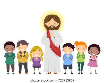 Illustration of Stickman Kids Praying Besides Jesus Christ