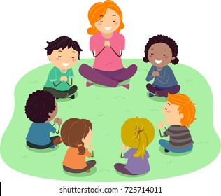 Illustration of Stickman Kids Praying Outdoors with their Teacher