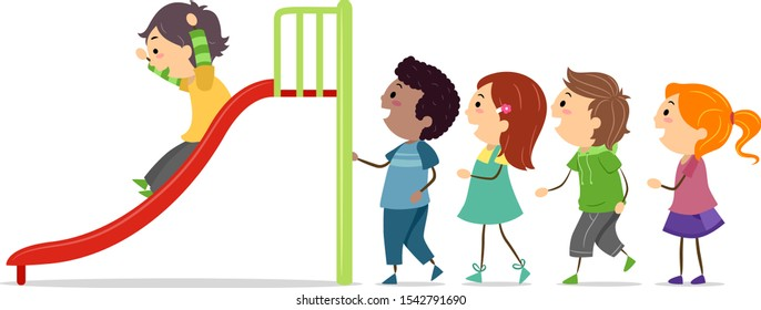 Illustration of Stickman Kids In Queue Taking Turns in Sliding in the Playground