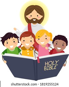 Illustration of Stickman Kids Reading the Bible with Jesus Christ
