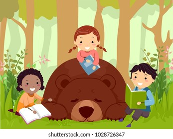 Illustration of Stickman Kids Reading Books with a Sleeping Brown Bear in the Woods