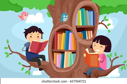Illustration of Stickman Kids Reading Books and Sitting on Tree Branches