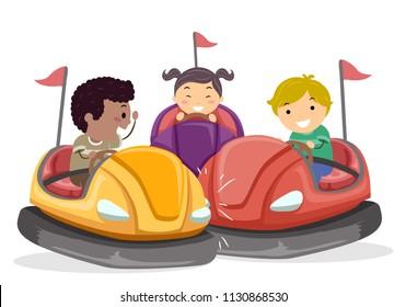 Illustration of Stickman Kids Riding Bump Cars in the Amusement Park