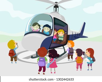 Illustration of Stickman Kids Riding and Looking at a Helicopter