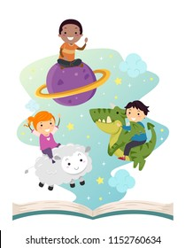 Illustration of Stickman Kids Riding a Planet, a Sheet and a Dragon Floating from an Open Story Book
