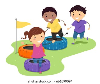 Illustration of Stickman Kids Running and Playing in a Tire Obstacle Course