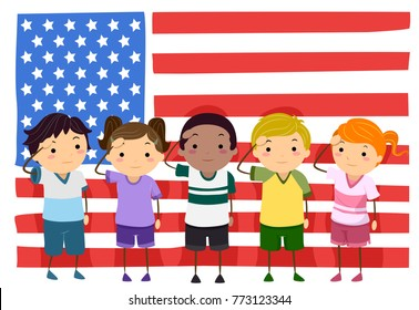Illustration of Stickman Kids Saluting in Front of an American Flag