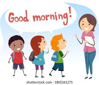 Illustration of Stickman Kids Saying Good Morning and Greeting Their Teacher, Social Skills