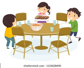 Illustration of Stickman Kids Setting the Dining Table, Placing Glasses, Arranging Chairs and Placing Food