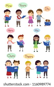 Illustration of Stickman Kids Showing Examples of Possessive Pronouns like Mine, Yours, Its, Hers, His, Ours and Theirs