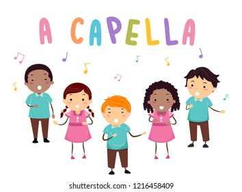 Illustration of Stickman Kids Singing with A Capella Lettering and Musical Notes