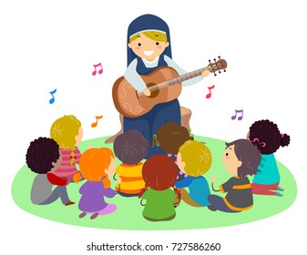 Illustration of Stickman Kids Singing to Music Played by a Nun with Guitar