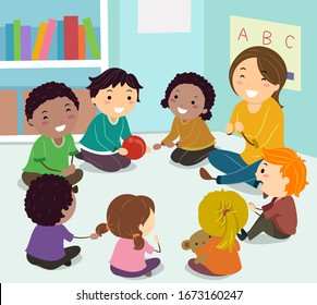 Illustration of Stickman Kids Sitting in a Circle with Girl Teacher Playing an Ice Breaker Game, Passing Ball to Know Each Other on the First Day of Class