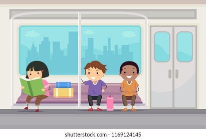 Illustration of Stickman Kids Sitting Down and Riding the Subway