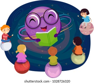 Illustration of Stickman Kids Sitting on Planets Listening to a Teacher Planet Reading a Story Book