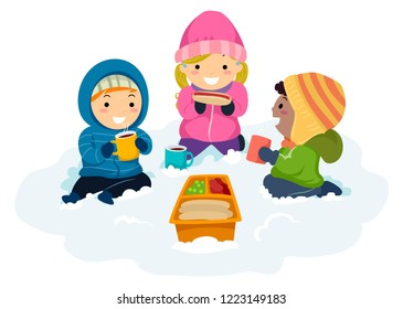 Illustration of Stickman Kids Sitting Outdoors in the Snow Having Picnic, Drinking Hot Chocolate and Eating