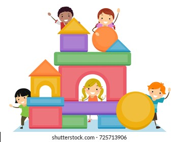 Illustration of Stickman Kids Stacking Basic Shape Blocks to Form a Building