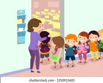 Illustration of Stickman Kids Standing In Line Before Entering their Classroom with Teacher Beside the Door