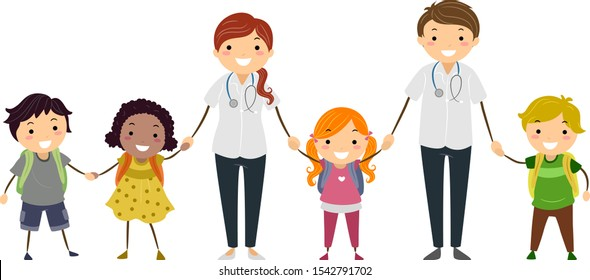 Illustration of Stickman Kids Students with Man and Woman School Nurses in White with Stethoscope