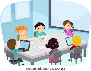 Illustration of Stickman Kids Students on the Table with Laptop and Papers, Brainstorming in Class